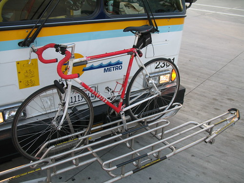 Bikerack for three bicycles on Highway 17 Express Bus
