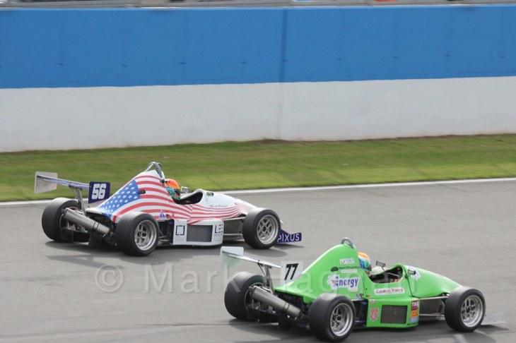 Lee Morgan and Ben Hingeley in Formula Jedi at Donington, September 2015