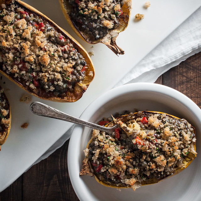 Lentils and cheese with roasted red pepper in spaghetti squash boats
