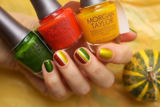 05 Morgan Taylor Chrome Collection Chrome Base, Ivy Appliqué, AmberRushAppliqué, Sunset Yellow Appliqué swatches by Ann Sokolova