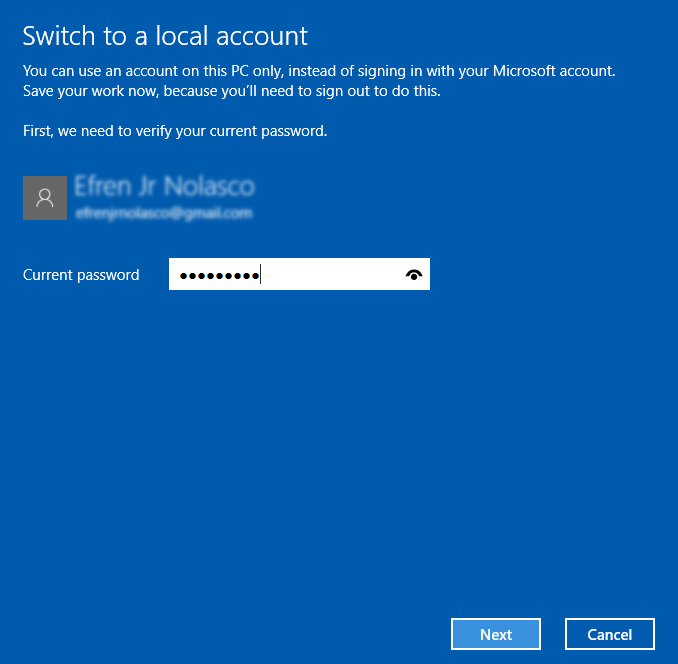 switch windows 10 login from microsoft account to local account 3
