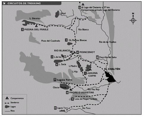 Mapa de senderos El Chaltén