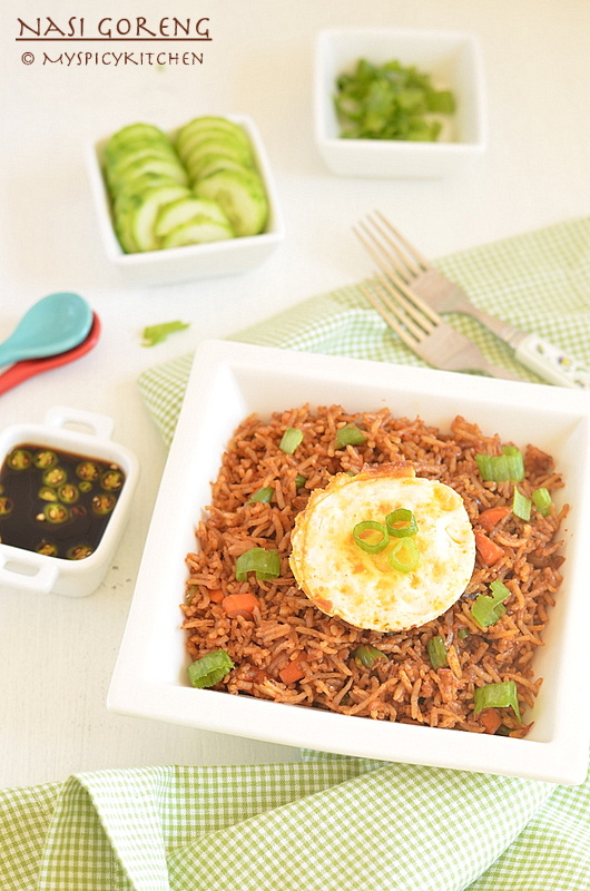 Indonesian Fried Rice, Indonesian Food, Indonesian Cuisine, Fried Rice, Blogging Marathon, Buffet On Table, Breakfast, National Dish of Indonesia