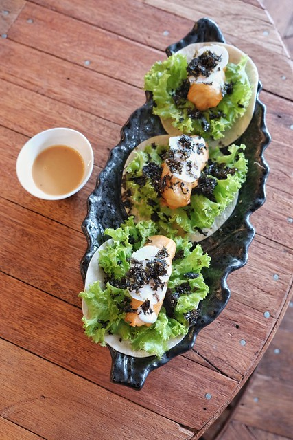 Fish and Roasted Sesame Soft Tacos at Earth Kitchen
