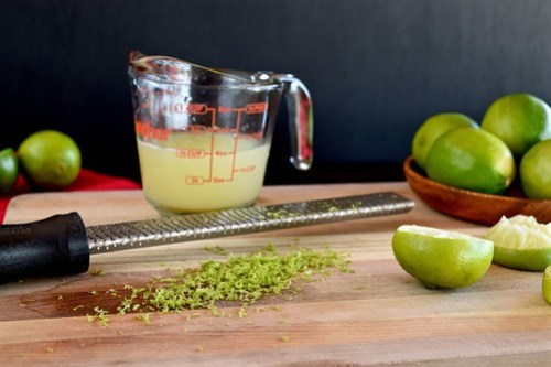 zesting and juicing the limes