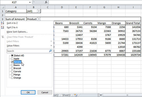 pivot table - filter