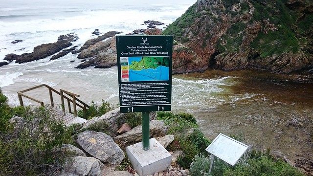 warning at bloukrans river on otter trail