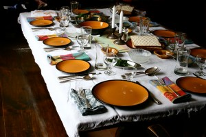 Seder table for Passover dinner