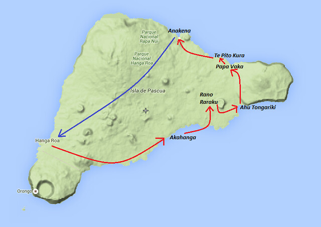 Mapa Tour Full Day Isla de Pascua