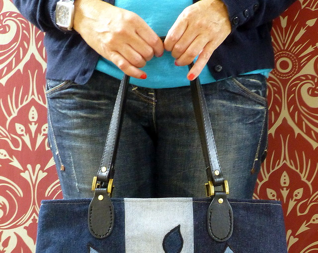 Denim Applique bag