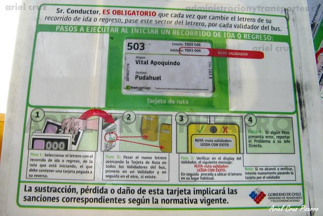 Tarjeta de Ruta 503 Transantiago