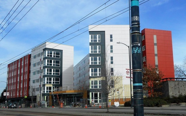 """Mercy Housing will bring """"Mercy Othello Plaza Apartments"""" 108 units of 1, 2 and 3 bedrooms. Over 2000 people showed up for a lottery drawing, sadly only 104 peoples names could be picked. Underconstruction on Martin Luther King Way in South Seattle, WA"""