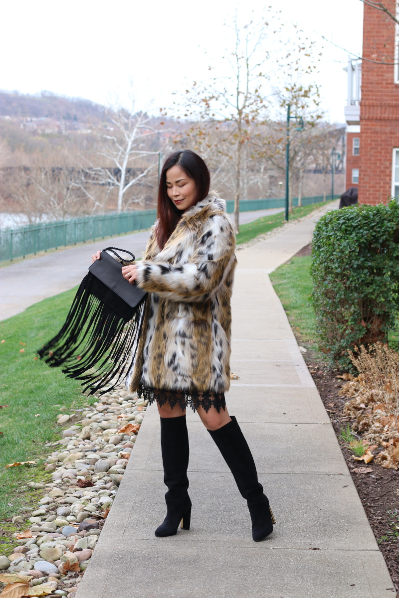Topshop leopard coat, suede boots