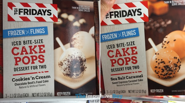 TGI Fridays Frozen Flings Cookies 'n Cream and Sea Salt Caramel Cake Pops