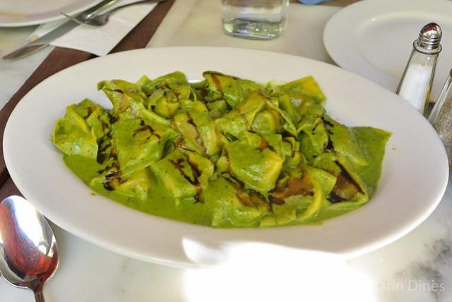 Agnolotti Di Osso Bucco tortelloni filled with osso bucco meat & marrow in a salsa verde