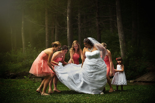 Light shines on a forest wedding