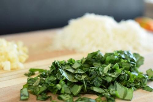 chopped basil, garlic, and pecorino romano