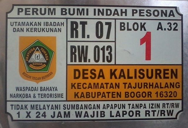 Plat Nomor Rumah Tajurhalang Bogor