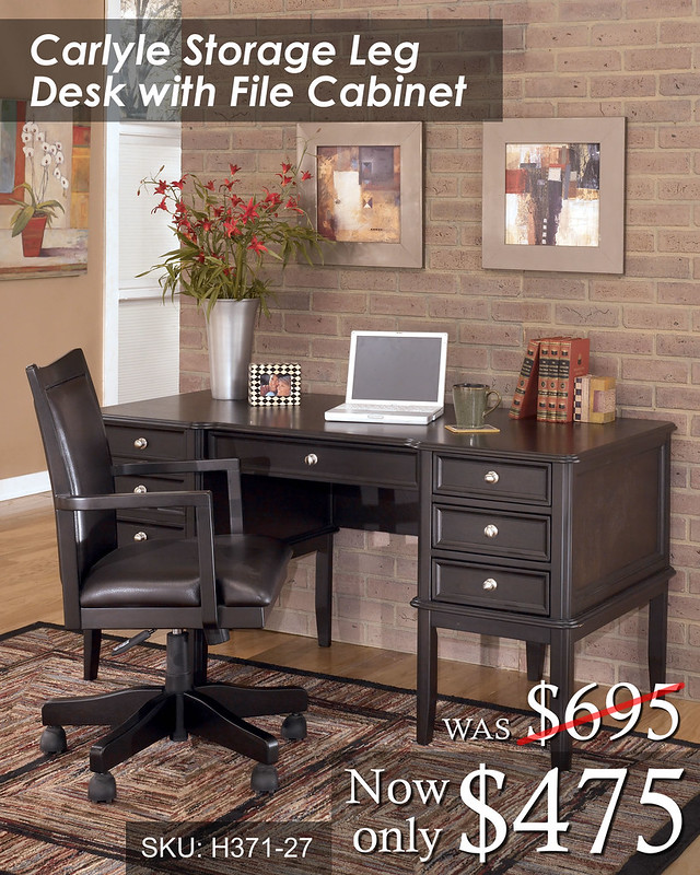 Carlyle Leg Desk wFileCabinet