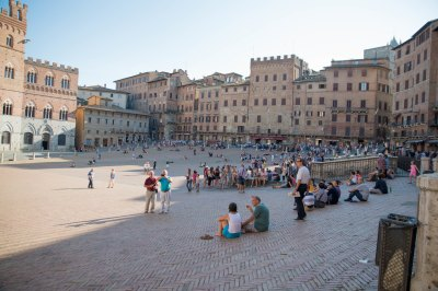Sitting in the Siena Italy city square