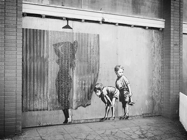 banksy stencil, dismaland, weston super mare