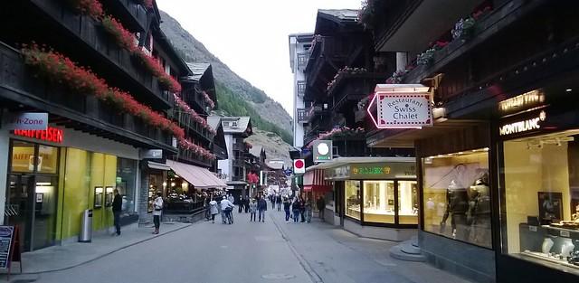 zermatt town stores evening
