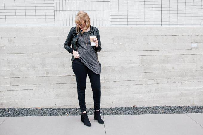 asymmetrical sweater leather jacket3