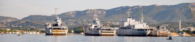 Toulon French naval harbour with three large vessels