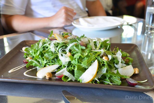 Arugula Salad k&j asian pear, red grapes, shaved fennel, toasted hazelnuts, garden mint, peach vinaigrette