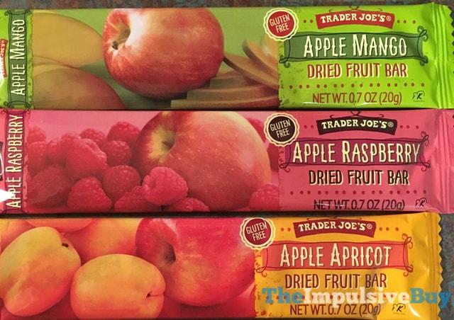 Trader Joe's Dried Fruit Bars (Apple Mango, Apple Raspberry, and Apple Apricot)