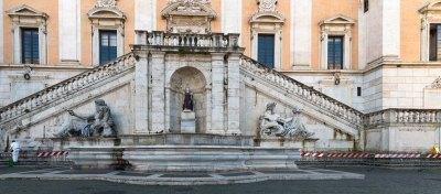 An empty Piazza del Campidoglio Rome