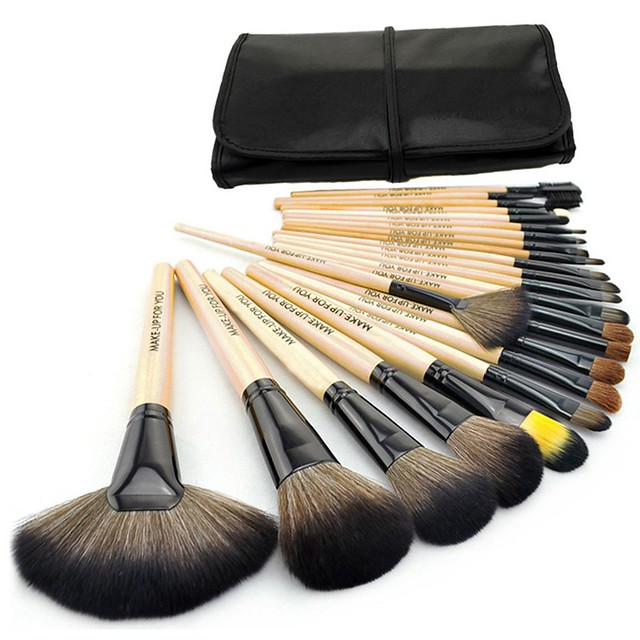 Professional Makeup Brushes Set with Black Synthetic Leather Pouch Bag