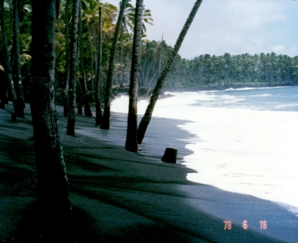 Kalapana Black Sand Beach in 1978 by Hawaiian Sea