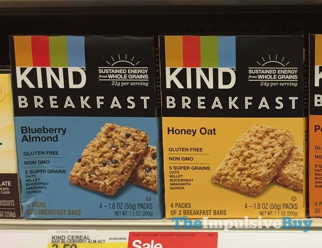 Kind Blueberry Almond and Honey Oat Breakfast Bars