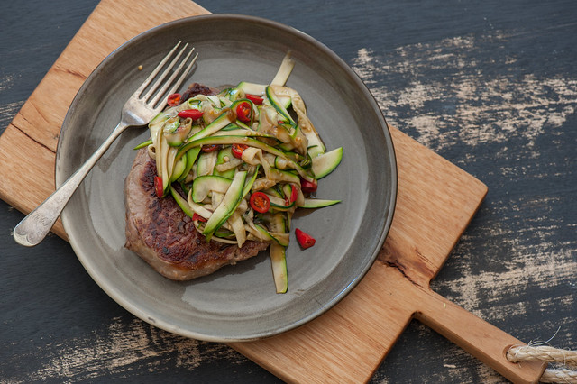 Steak with Asian Zucchini 'Noodles'