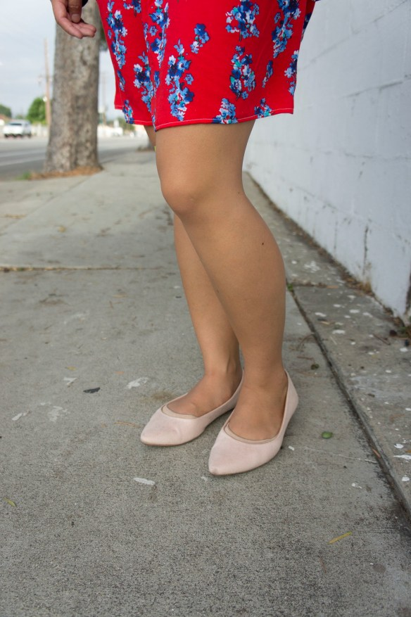 Red Dress and Pointed Toe Flats