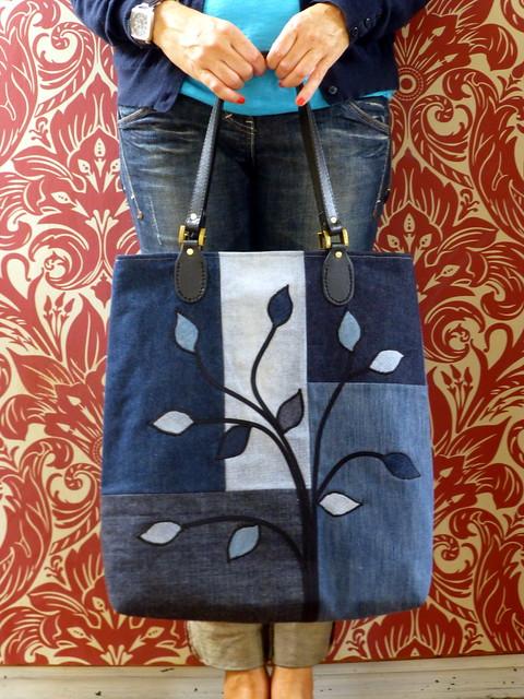 Denim applique bag just jude designs quilting patchwork denim applique bag publicscrutiny Image collections