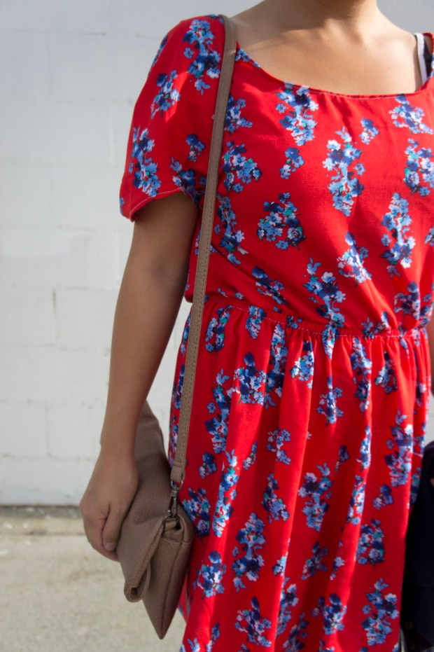 DIY Floral Print Red Kimono Sleeve Dress