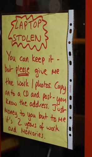 Laptop stolen