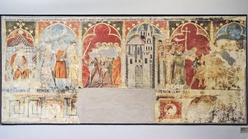 Pintura mural gotica Historia de San Saturnino obra Roque de Artajona de Iglesia del Cerco de Artajona s. XIII Museo de Navarra Pamplona