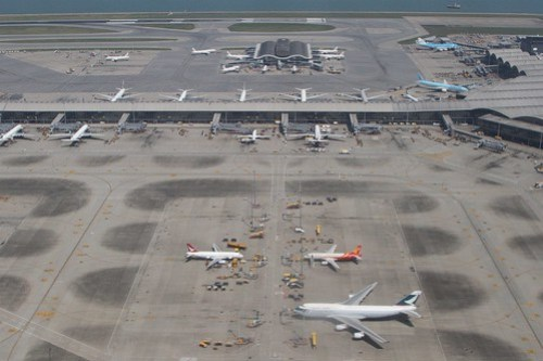 Looking down on the southern remote stands at Hong Kong International Airport