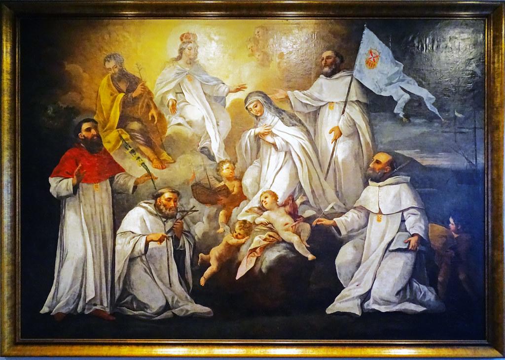 Barroco pintura La Virgen de la Merced y san Jose protegiendo a los santos mercedarios Museo de Navarra Pamplona