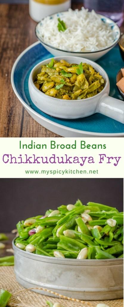 A bowl of chikkudukaya kura or Indian broad beans fry and a bowl of uncooked chikkudukaya