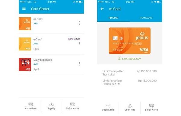 Tampilan card center di aplikasi Jenius tempat mengatur kartu Visa Debit Jenius | DarlaOct.com