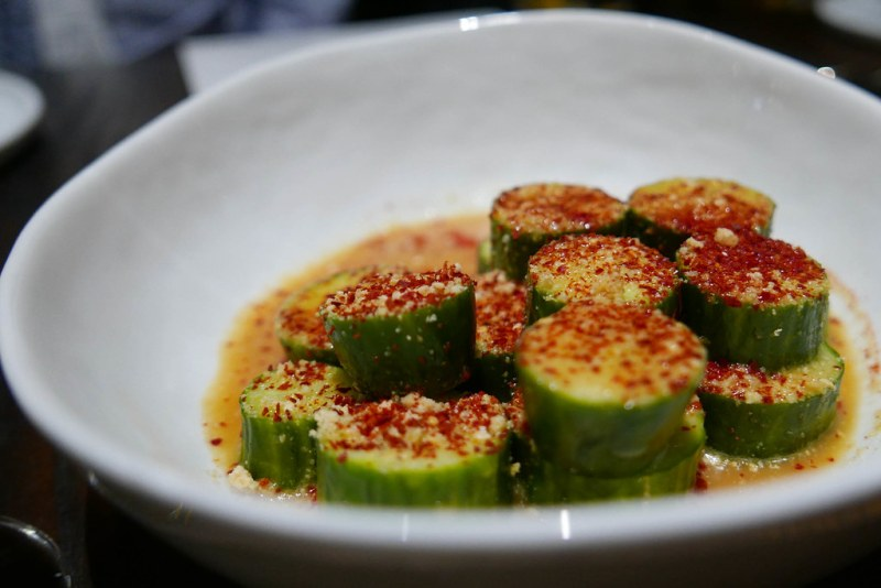 Japanese Cucumber, miso broth, chili oil, sesame salt, korean chili  ($9)