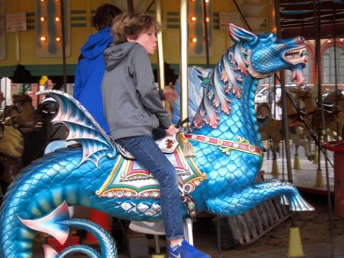 Riding the carousel dragon