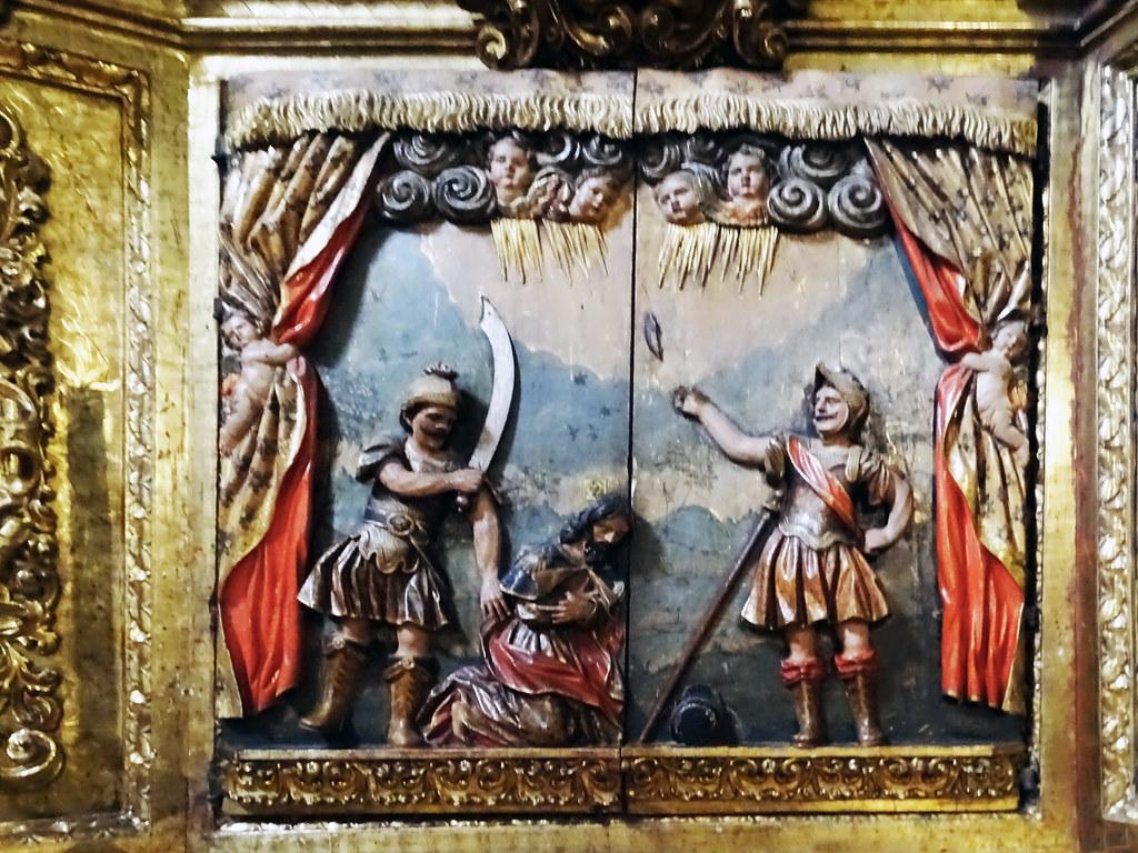 El Martirio de Santiago Retablo mayor interior Iglesia de Santiago Puente la Reina Navarra