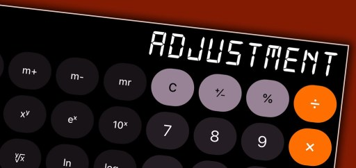 calculator with the word adjustment in the display