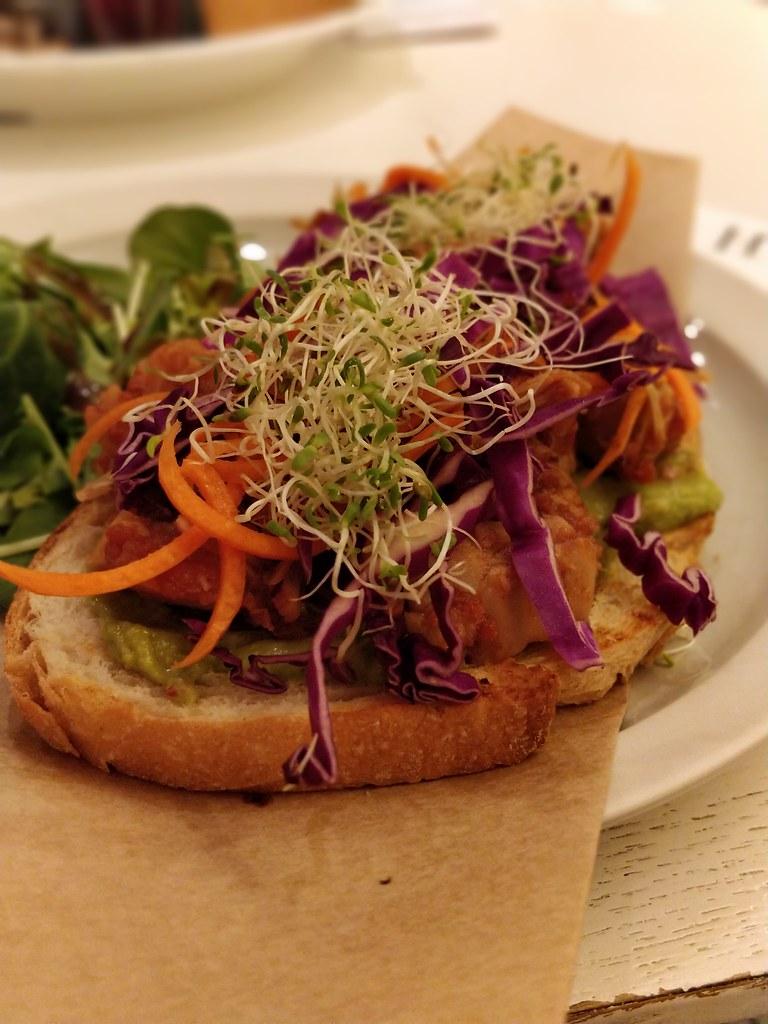 Open Face Vegan Pulled Jackfruit Avocado Sandwich Habitu Central Hong Kong