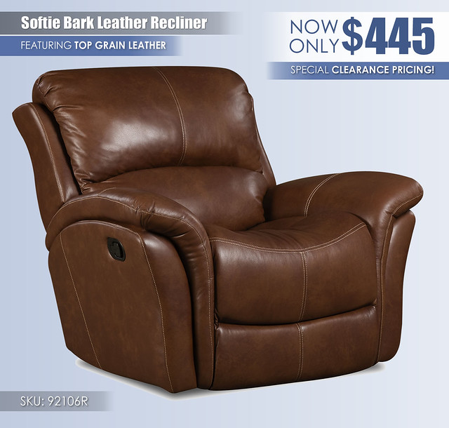 Softie Bark Leather Recliner_92106r_CLEARANCE